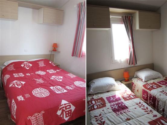Chambres avec deux lits et double lit.